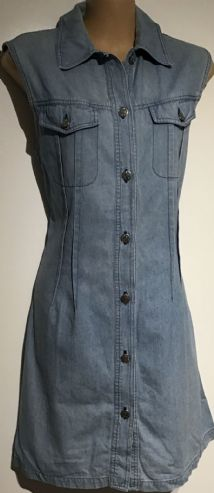 DENIM BUTTONED MINI VINTAGE SHIRT DRESS SIZE 12